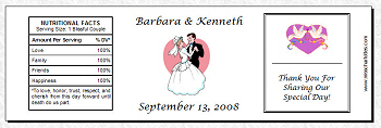 personalized bridal shower or wedding reception water bottle labels style 2 8x2